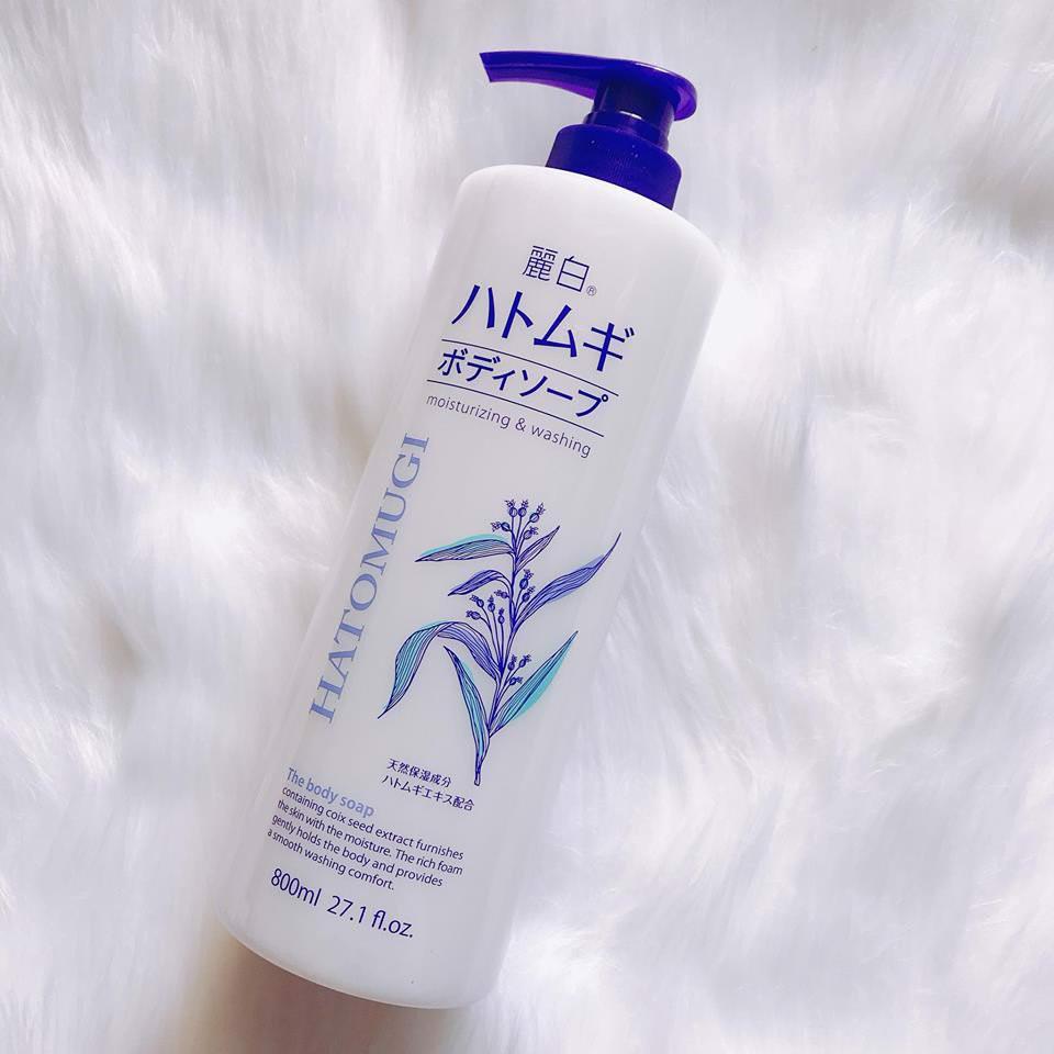 Sữa tắm dưỡng ẩm và làm sáng da Hatomugi Nhật Bản (Chai 800ml) 7