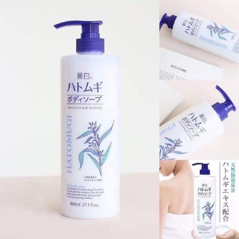 Sữa tắm dưỡng ẩm và làm sáng da Hatomugi Nhật Bản (Chai 800ml) 4
