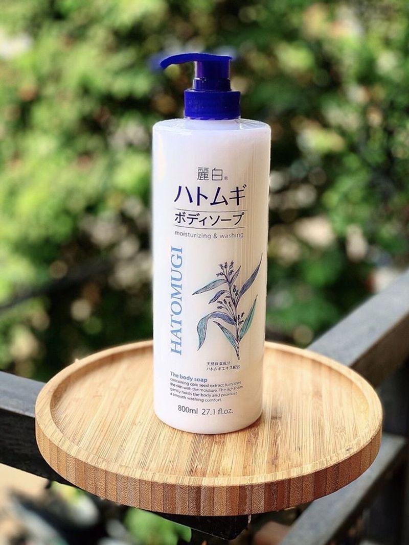 Sữa tắm dưỡng ẩm và làm sáng da Hatomugi Nhật Bản (Chai 800ml) 6