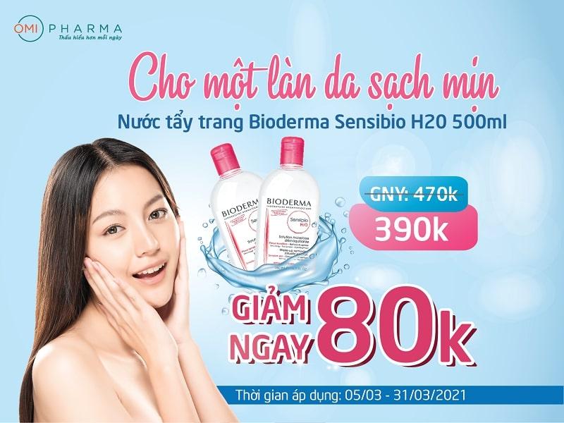 Giảm ngay 80k khi mua tẩy trang Bioderma Sensibio 500ml tại nhà thuốc Omi Pharma