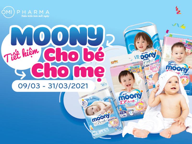 """Bé khỏe mẹ vui với chương trình """"Mua 5 tặng 1"""" bỉm Moony tại nhà thuốc Omi Pharma"""