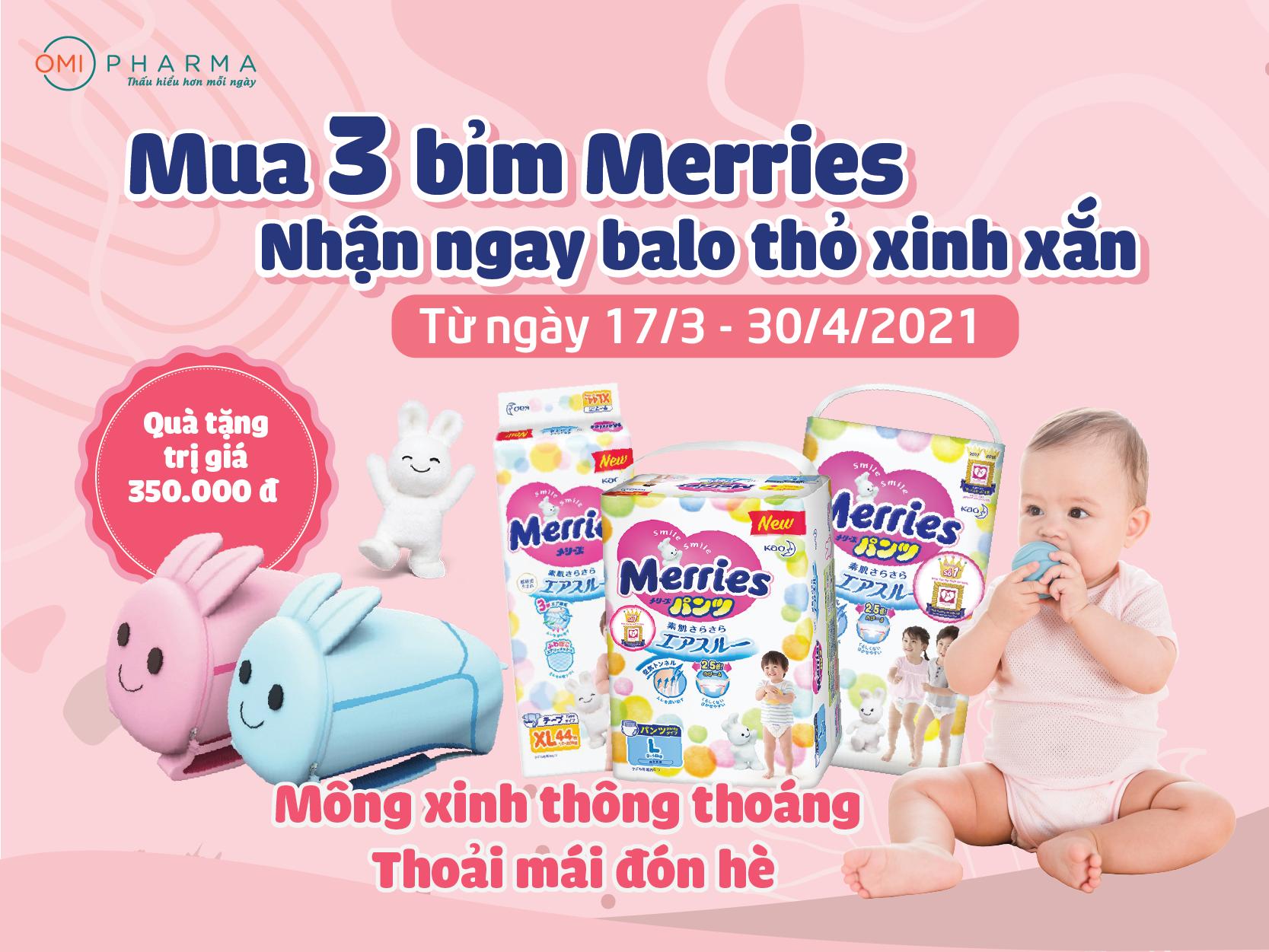 Nhận balo xinh xắn và tiện lợi cho bé yêu khi mua bỉm Merries tại Omi Pharma
