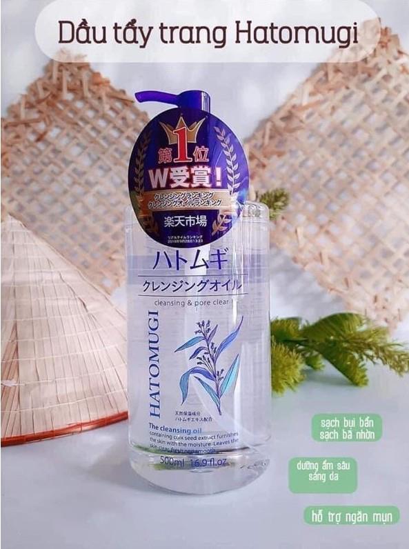 Dầu tẩy trang Hatomugi Nhật Bản dưỡng ẩm và làm sáng da (Chai 500ml)